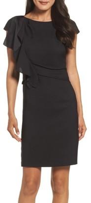 Women's Eliza J Crepe Ruffle Sheath Dress $138 thestylecure.com