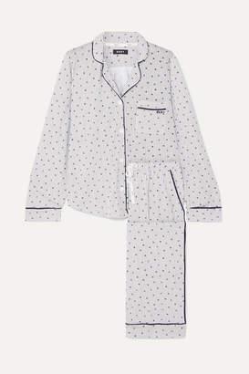 DKNY Signature Printed Cotton-blend Jersey Pajama Set - Blue