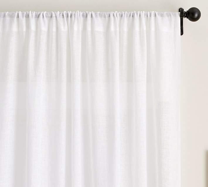 Belgian Flax Linen Sheer Drape - White