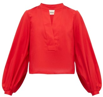 KHAITE Suzanna Cotton Blouse - Womens - Red