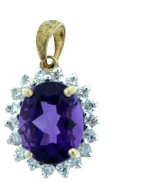 Oval Shape Amethyst Pendant with Diamonds