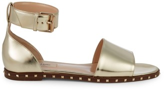 Valentino Metallic Leather Flat Sandals