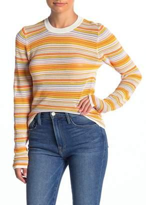 Woven Heart Long Sleeve Lightweight Stripe Sweater