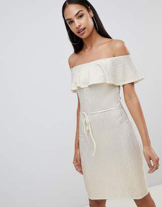 Rare London Frill Top Metallic Bardot Midi Dress