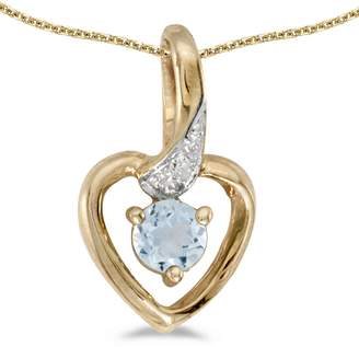 "Direct-Jewelry 10k Yellow Gold Round marine And Diamond Heart Pendant with 16"" Chain"