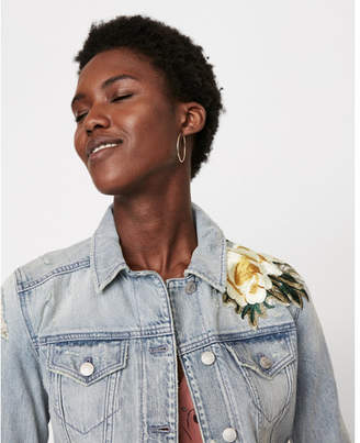 Express denim trucker jacket with floral embroidery