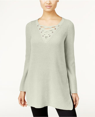 Style & Co. Petite Lace-Up Tunic Sweater, Only at Macy's $59.50 thestylecure.com
