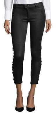 Instasculpt Fringed-Hem Skinny Jeans