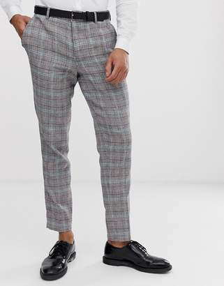 Selected tapered suit pant in check cotton linen