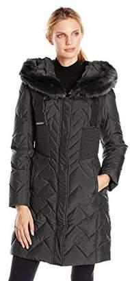 T Tahari Women's Kim Down Coat with Faux-Fur Hood