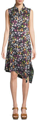 Equipment Tira Sleeveless Tiny Floral-Print Silk Dress w/ Asymmetric Hem