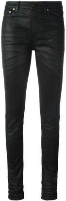 Saint Laurent skinny fit coated jeans