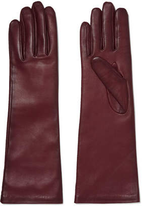 Agnelle Leather Gloves - Burgundy