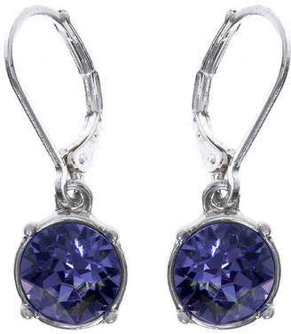 Gloria Vanderbilt Purple Crystal Silver-Tone Drop Earrings