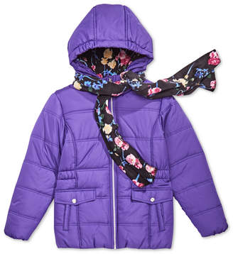 S. Rothschild Big Girls Hooded Puffer Jacket with Scarf