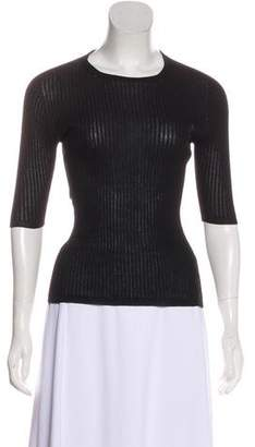 Calvin Klein Collection Rib Knit Short Sleeve Top