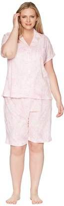 Lauren Ralph Lauren Plus Size Notch Collar Bermuda Set Women's Pajama Sets
