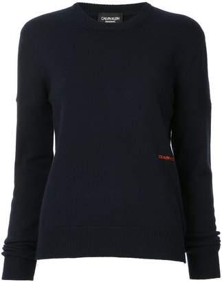 Calvin Klein cashmere logo embroidered jumper