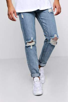 boohoo Skinny Distressed Jeans With Embroidery