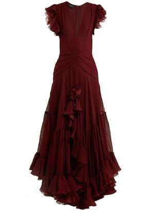 Giambattista Valli deep v-neck silk-georgette gown