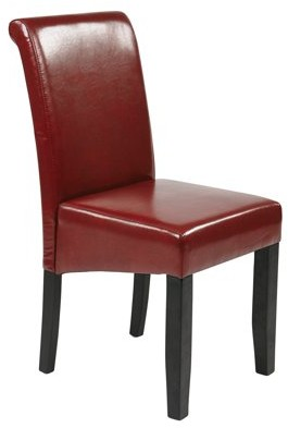 Office Star Metro Design by Products Parsons Chair, Crimson Red Leather