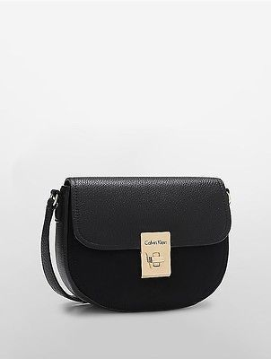 Calvin Klein Calvin Klein Womens Pebble Leather Suede Crossbody Bag Black