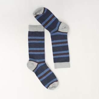 Blade + Blue Navy, Pale Blue & Burgundy College Stripe Socks