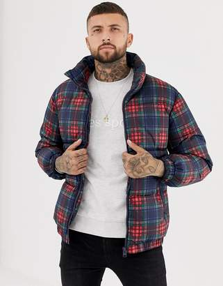 Bershka check puffer jacket with funnel neck