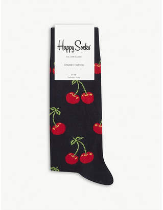 Happy Socks Mens Black Cherry Cotton-Blend Socks
