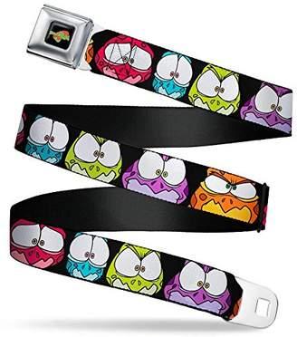 SPACE JAM Logo Full Color Black/Red/Green Seatbelt Belt - Space Jam Nerdlucks Faces CLOSE-UP Black Webbing X-LARGE