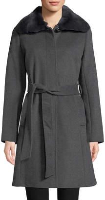 Via Spiga Women's Rabbit Fur Collar and Wool Blend Belted Coat