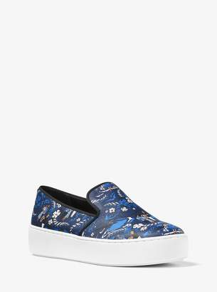 Michael Kors Janelle Tropical Welcome Print Leather Slip-On Sneaker