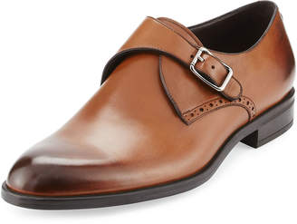 Ermenegildo Zegna Burnished Leather Monk-Strap Shoe, Brown