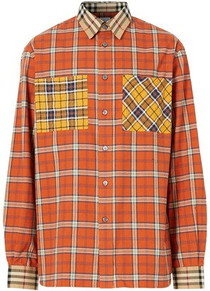 Burberry Contrast Check Cotton Flannel Oversized Shirt