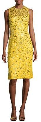 Jenny Packham Floral-Sequin Lace Sleeveless Cocktail Dress, Dandelion $3,840 thestylecure.com
