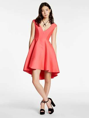 Halston Silk Falle Structured Dress