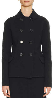 Jil Sander Double-Breasted Fitted Short Wool-Blend Pea Coat