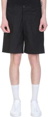 Pt01 Black Cotton Bermuda Shorts