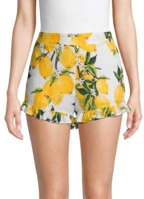 Lucca Couture Lemon-Print Cotton Shorts