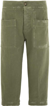 James Perse Cropped Stretch-cotton Twill Pants - Green