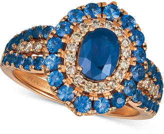 LeVian Le Vian Strawberry & Nude Blueberry Sapphire (2-1/5 ct. t.w.) & Diamond (1/4 ct. t.w.) Ring in 14k Rose Gold