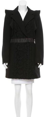 pradaPrada Lace-Accented Wool Coat