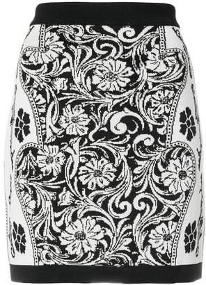 Balmain jacquard effect skirt