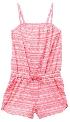 Nautica Wave Print Crochet Dot Trim Romper (Toddler Girls)