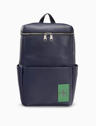 Calvin Klein monogram logo natural grain zip backpack