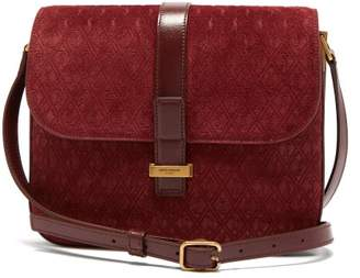 Saint Laurent Monogramme Suede Shoulder Bag - Womens - Burgundy