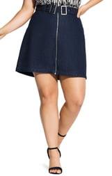 City Chic Buckle Denim Skirt
