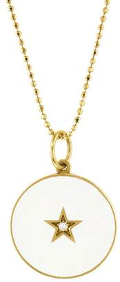 Andrea Fohrman White French Enamel Diamond Star Full Moon/New Moon Necklace - Yellow Gold