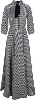 Zalinah White - Adele Bias Cut Maxi Check Dress In Black & White Gingham With Neck Bow