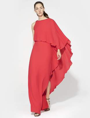 Halston FLOWY ONE SLEEVE ROUND NECK GOWN WITH BACK COWL